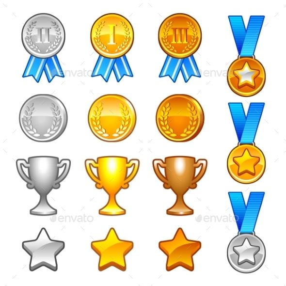 Winter Sport Awards (Vector EPS, CS, achievement, badge, blue, bronze, cartoon, competition, cup, element, game, gold, icon, isolated, laurel, medal, prize, ribbon, set, shape, shiny, sign, silver, sport, star, success, symbol, trophy, vector, victory, win, winter)