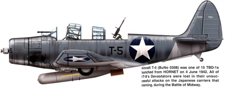 TBD-1 / Unit: VT-8, US Navy // Aircraft T-5 (BuNo.0308) was one of 15 TBD-1s launched from CV-8 USS Hornet on 4 June 1942. All of VT-8's Devastators were lost in their unsuccessful attacks on the Japanese carriers that morning, during the Battle of Midway.