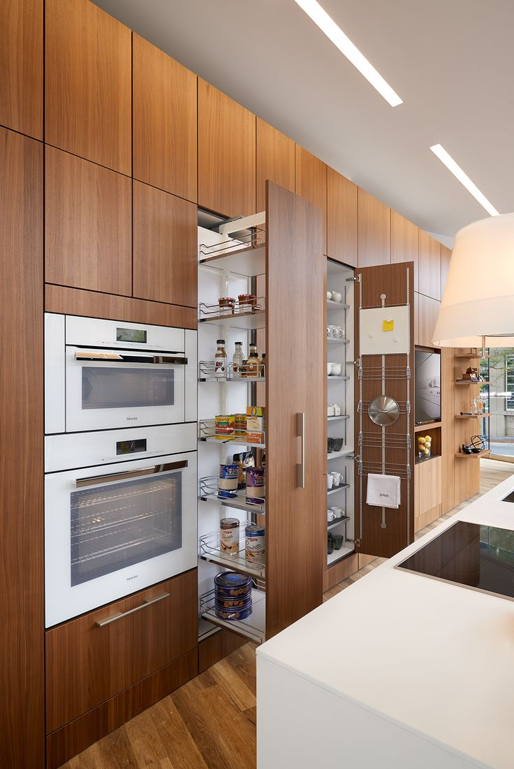 SieMatic Pure Kitchen, SieMatic Wood Veneer, Natural Walnut (cabinets/panels),  SieMatic U201cFloating Spacesu201d (wall/shelf System), Miele Speed Oven Andu2026