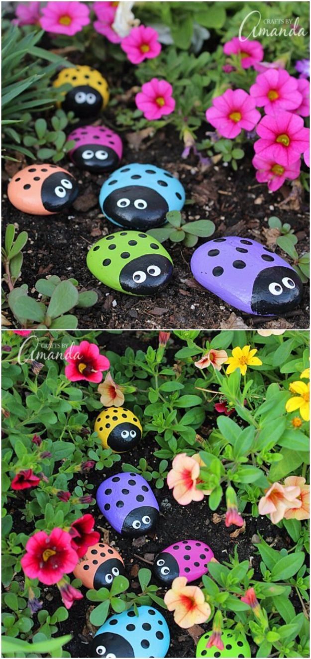 Pebble and Stone Crafts - Painted Ladybug Rocks - DIY Ideas Using Rocks, Stones and Pebble Art - Mosaics, Craft Projects, Home Decor, Furniture and DIY Gifts You Can Make On A Budget http://diyjoy.com/diy-pebble-stone-crafts
