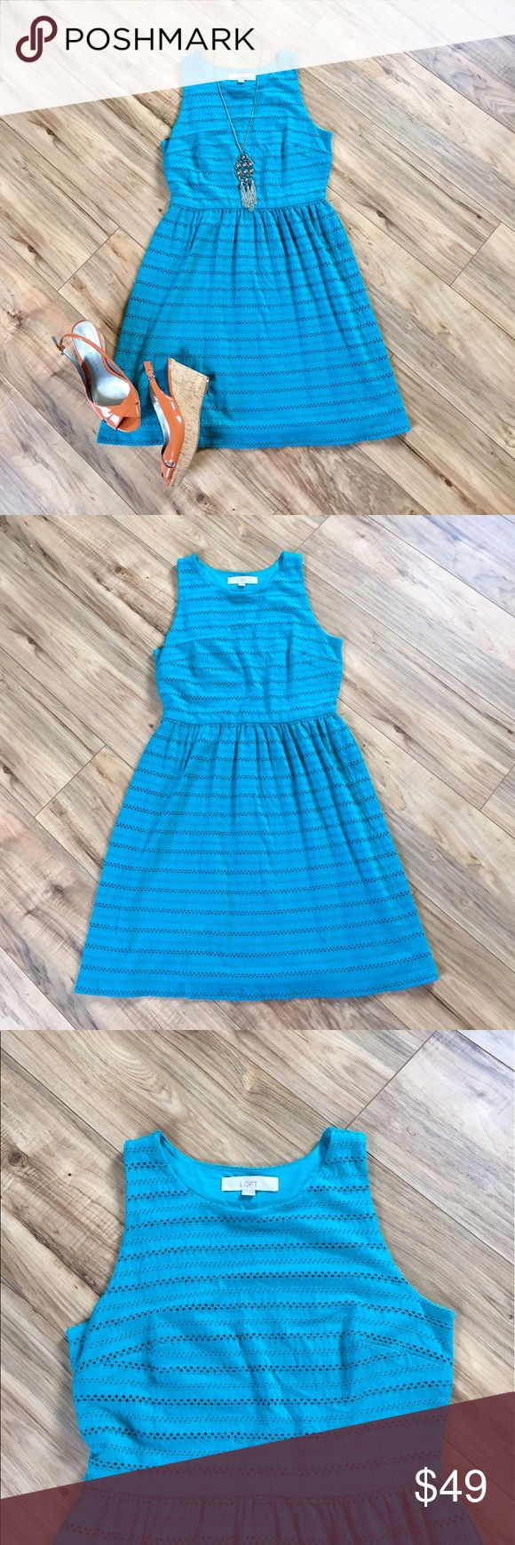 """NWOT Ann Taylor LOFT aqua blue sundress NWOT Ann Taylor LOFT aqua blue soft eyelet sundress. Sleeveless design. Fully lined. Shell is 99% cotton / 1% spandex and lining is 100% polyester. Machine washable. It's so comfortable! Approximately 36"""" from shoulder to hem and 14"""" waist (laid flat). LOFT Dresses Midi"""
