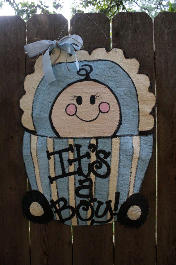 Items similar to Baby carriage burlap door hanger on Etsy & 149 best Burlap Door Hangers images on Pinterest | Burlap door ...