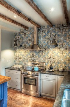 Perfect Blue And Grey Moroccan Inspired Kitchen Backsplash That Runs The Entire  Wall   Wide Plank Wood