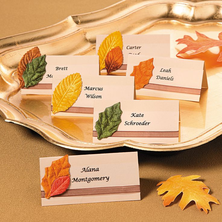 Fall Place Cards - It's easy to bring autumn's beauty indoors for your fall wedding with these simply elegant place cards.