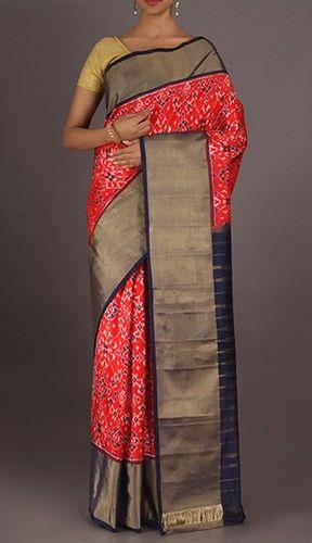 Vanaja Rangoli Patterned Full Ornate Ikat Pochampally Silk Saree