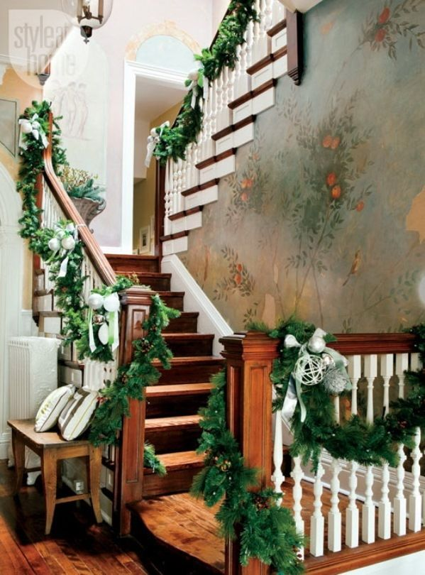 Christmas Garland Ideas Staircase Found on