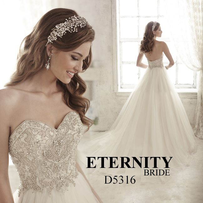 Full tulle skirt princess wedding dress with a rich crystal high waist bodice and sweetheart neckline. D5316 is available in Ivory or White. Call us to find your nearest retailer. #eternitybridal #eternitygroup #weddingdresses #bridal #brides #bridalgown #gettingmarried #weddingshopping #weddingdressshopping #bigday #weddingday #dresses