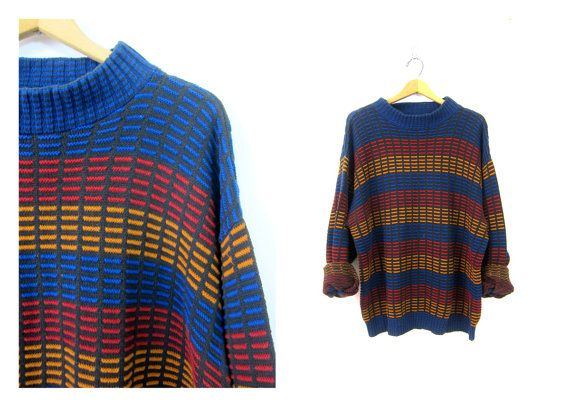 90s Slouchy Boyfriend Sweater Pullover Oversized Sweater Blue Red Gold Patterned Preppy Sweater Cotton Textured Top Size Large XL