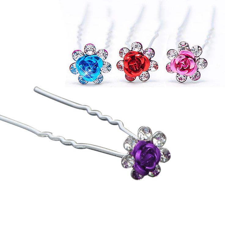 Top Sell 1 Pc Women Bridal Wedding Crystal Diamante Flower Rose Hairpin Clip Barrettes Sticks Hair Braider Styling Tools