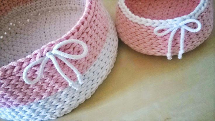 Handmade crochet baskets / koszyk szydełkowy / koszyk na szydełku ze sznurka bawełnianego