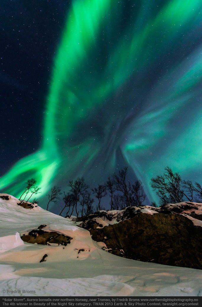 """2013 Earth & Sky Photo Contest Winners: 4th place in the Beauty of the Night Sky category goes to """"Solar Storm"""" by Fredrik Broms, which shows how the northern lights dance in the sky of Norway after a solar storm reached the Earth. Credit: Fredrik Broms/TWAN http://twanight.org"""