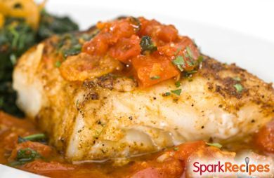 This Mediterranean baked fish #recipe is one of our favorites! We put this together in the @sparkpeople kitchen so it's low in salt & fat.  #lowfat #lowsalt