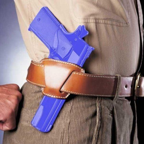 """Galco Jak Slide Belt Holster for 1911 5-Inch Colt, Kimber, Para, Springfield (Tan, Right-hand) by Galco. $49.91. The highly concealable Jak Slide, originally named by """"The Famous Jackass Leather Company,"""" carries the pistol between the belt and pants.     The belt is inserted through the exterior belt slots, resulting in a holster that pulls the pistol in close to the body for easy concealment and excellent comfort. This open-top holster is fast and smooth on the draw, while ..."""