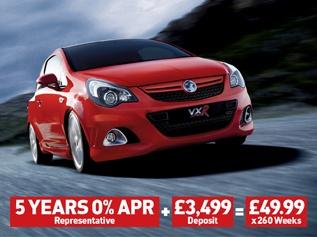 Corsa VXR 5 Years 0% APR + £3,499 = £49.99 (x260 weeks)
