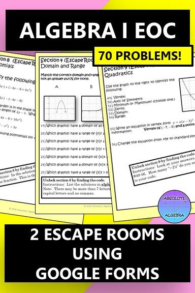 Algebra 1 EOC Two Escape Rooms using Google Forms Distance ...