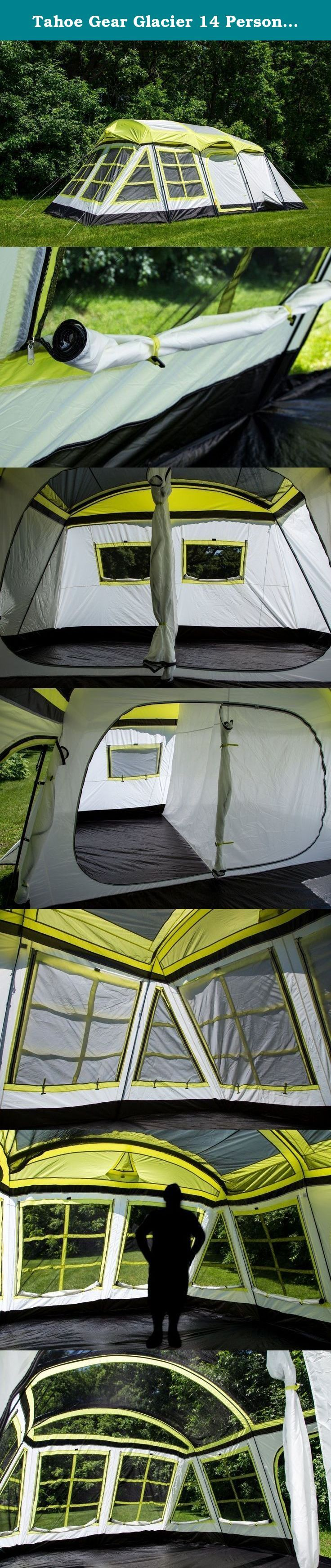 Tahoe Gear Glacier 14 Person 3-Season Family Cabin Camping Tent - Green/Grey. Explore the great outdoors and setup camp with ease in the new Tahoe Gear Glacier Tent. Great for comfortably sleeping up to 12 or 14, the Glacier is ideal for a night with the family or a longer excursion. Enjoy day time in the airy, open screen room or a few restful hours in the separate master suite area. Equipped with easy setup poles, stakes, guy ropes, and rain fly for unexpected weather, this tent is…