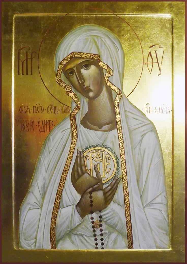 """Matka Boska  Fatimska  """" W Tobie jedność"""" / Icon of Holly Mary from Fatima, Pracownia ikon Serca Jezusowego, Katarzyna Perkowska"""