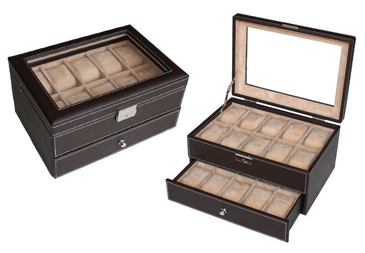 Luxury dark brown two layers leather watch box display Watches storage case 20 watches  $119.95  Size: 288*205*154 mm Elegant design with dark brown faux leather finished Pillow size 45x70mm Store up to 20 watches Crystal Clear acrylic top brilliant Soft camel velvet