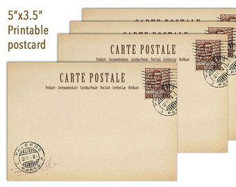 "Wedding Place Cards, Vintage Postcard, Printable Guestbook Alternative 5""x3.5"", Wishes cards, Retro postcard, blank digital postcard"
