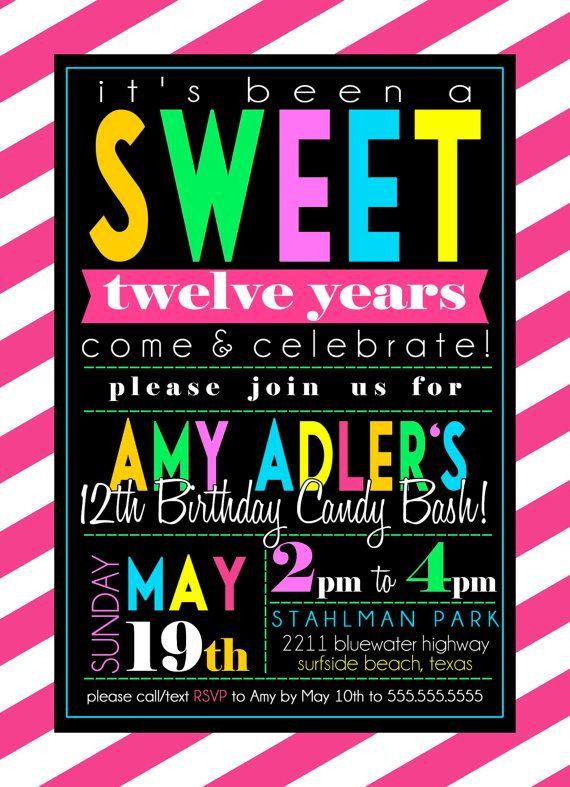 Custom Candy Theme Birthday Party Invitation by SayItLoudDesigns, $12.00
