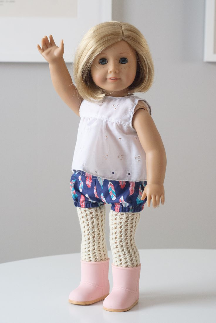 """Is your doll a bit chilly? Need some special tights to pair with a favorite dress? These delicate eyelet tights are a fun quick project that will make you want to knit up a pair in every color. Use scrap sock yarn for some interesting and colorful results.  Fits most 18"""" dolls including American Girl, Madame Alexander, Battat, Our Generation, Etc.  $4.25"""