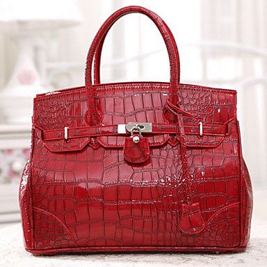 Vintage Alligator Pattern Patent Leather Tote