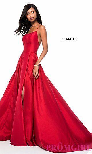 70f51908b72 Square-Neck Sherri Hill Prom Dress with Open Back