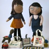 Lil Cat and Lil Pip and their accessories - alpaca, tote, laptop, pompoms and totes. Totes cute!