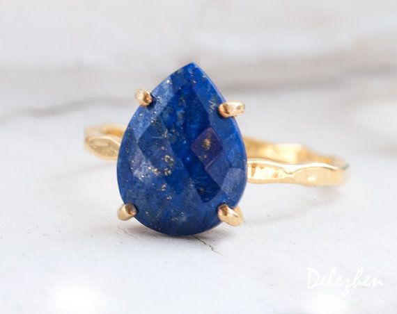 Lapis Ring September Birthstone Ring Gemstone Ring by delezhen