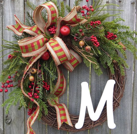 air jordan 1 mid carolina blue This Christmas Monogram wreath is characterized by extremely realistic greenery  berries  and apples  The gorgeous bow is made from a plaid faux