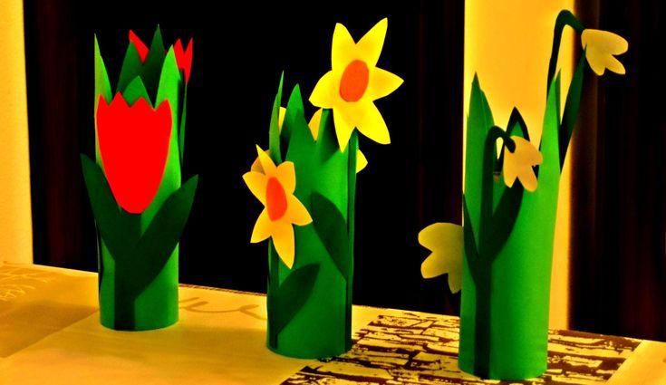květiny z ruliček toaletního papíru