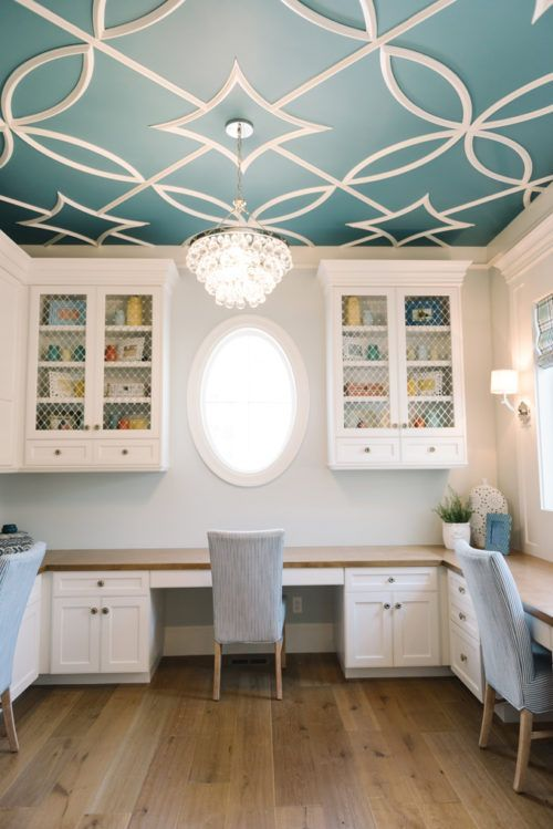 You guys, the touches on this ceiling. Why do you need knick-knacks when you ceiling can say it all.   Inspiring Home Office Decor Ideas for Her on Frugal Coupon Living.