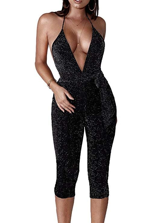 e1e58608d412 Jennyarn Ladies Sparkly Backless Romper Sexy Halter Rompers and Jumpsuits  For Women Clubbing Black L