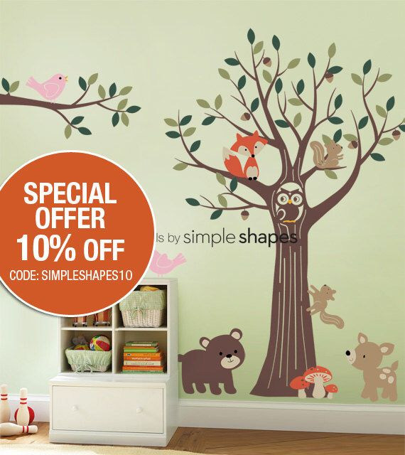 SALE Today ONLY!  Use Coupon Code SIMPLESHAPES10 for 10% off - Forest Friends Tree Decal Set - Kids Wall Decals, Baby Nursery Wall Decals by SimpleShapes on Etsy https://www.etsy.com/listing/69277340/sale-today-only-use-coupon-code