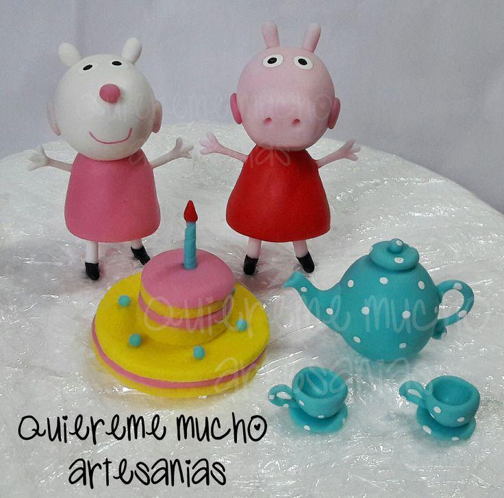 JUEGO DE TE, TORTA, PEPPA PIG Y SUSY OVEJA PORCELANA FRIA