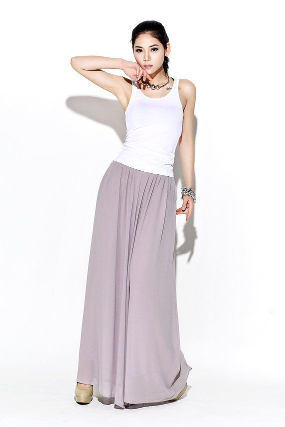 Understated but oh-so elegant, these beautifully streamlined gray chiffon palazzo pants are made in whisper-soft chiffon. Designed to flatter and create a wonderful silhouette no matter what size or shape you are. These chiffon palazzo pants would make a wonderful and slightly alternative mother-of-the-bride wedding outfit. They are so floaty and elegant, just perfect for a wedding party. DETAILS:  * waist has no elastic but a zipper at the front. * fabric is polyester chiffon * lining is…