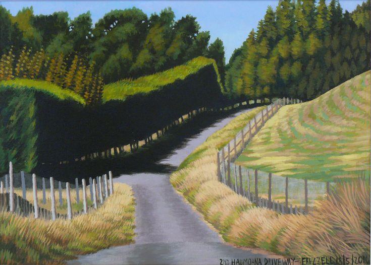 Dick Frizzell, 2014, '2nd Haumoana Driveway', Acrylic on canvas, 520x670mm