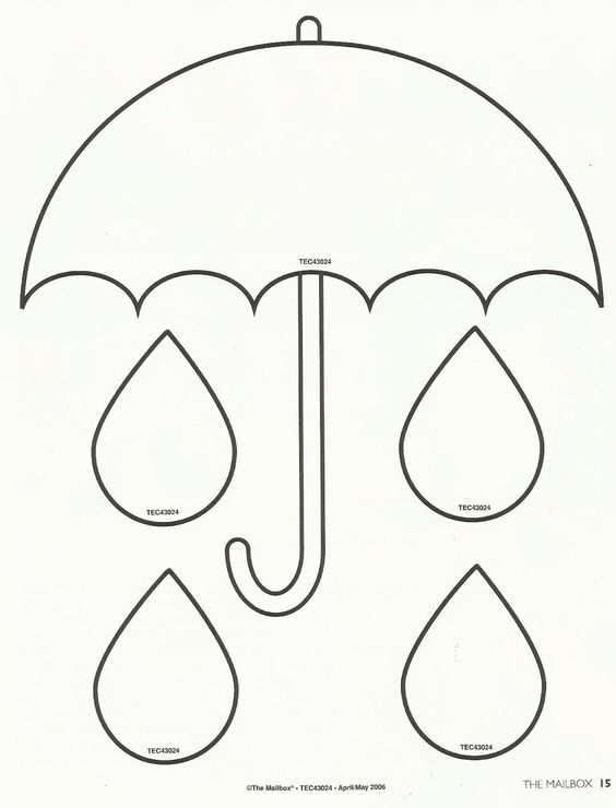 Spring - printable umbrella template - Use for filling a bucket activity.: