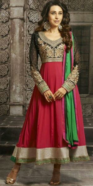 karishma in red and black long length full sleeves pure georgette anarkali suit with chiffon dupatta and shantoon bottom.