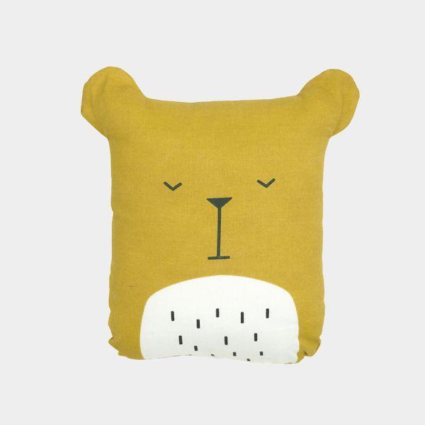 Coussin doudou ours en coton biologique  Rembourrage polyester  Moelleux et…