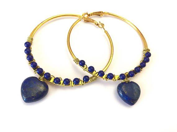 Blue Hoop Earrings Blue Jewelry Gold Earrings Heart jewelry Blue Gemstone Earrings Boho jewelry Gift for her Lapis lazuli gemstone by SecretStories