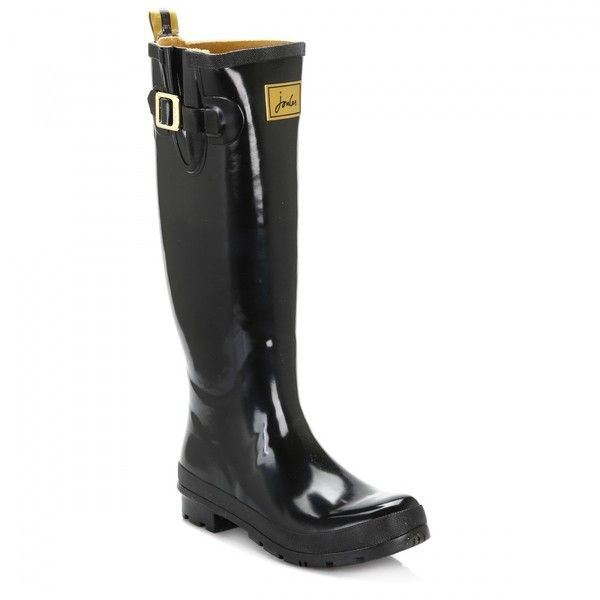 Joules Womens Black Field Welly Glossy Wellington Boots ($61) ❤ liked on Polyvore featuring shoes, boots, joules boots, shining boots, shine boots, shiny black boots and kohl shoes