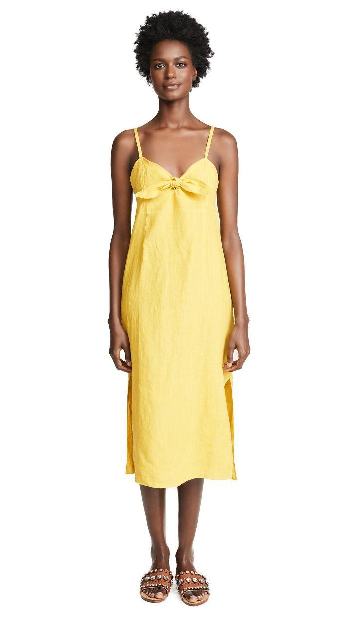 394e402eb2 Linen Tie Front Midi Dress Three Dots