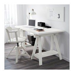 "IKEA - LINNMON / FINNVARD, Table, white, 59x29 1/2 "", , You can choose a flat or tilted table top, which is good for writing, painting or drawing, by adjusting the trestle.Plenty of room on the shelf under the trestle for your printer, books or papers. That keeps your table top clear so you have more room to work."
