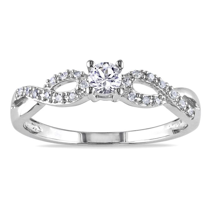 "<li>Round-cut created white sapphire and round white diamond promise ring</li><li>Sterling silver jewelry</li><li><a href=""http://www.overstock.com/downloads/pdf/2010_RingSizing.pdf""><span class=""links"">Click here for ring sizing guide</span></a></li>"