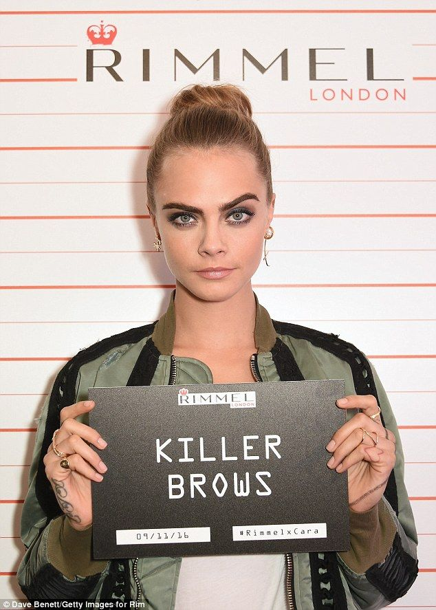 Playful: The model used her own signature brows to help promote her latest line...