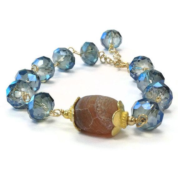 Blue Bracelet Yellow Gold Jewellery Crystal by jewelrybycarmal, $30.00