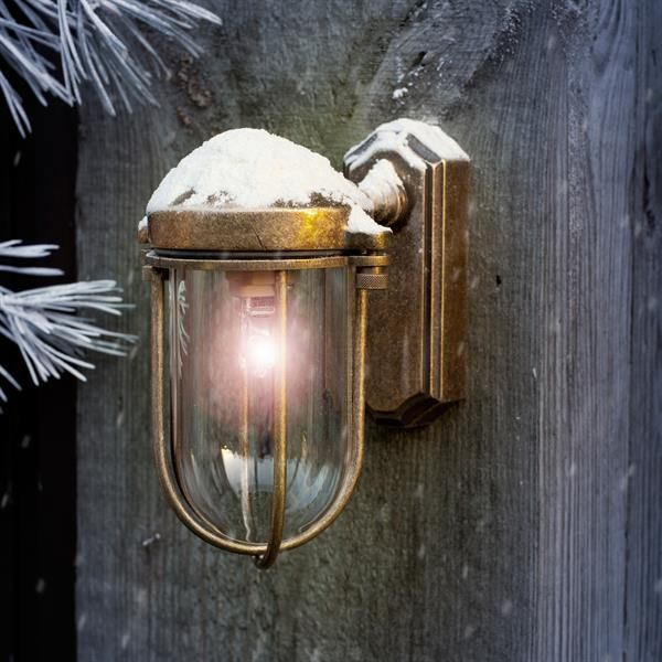 This sweet little brass outdoor light is perfect for lighting smaller spaces around your home .#Brass Clipper #Wall #Lantern | #Small #Outdoor #Light | #Exterior | #Jim #Lawrence