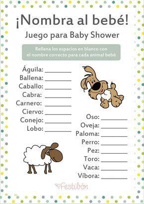 Nombra Al Animal Bebe Juegos Para Baby Shower Para Imprimir