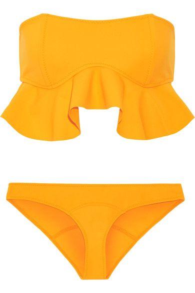 Lisa Marie Fernandez - Natalie Flounce Ruffled Bandeau Bikini - Marigold -